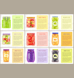 Canned vegetables and preserved fruit in glasses vector