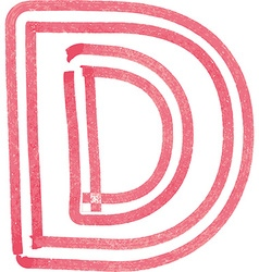 Capital letter D drawing with Red Marker vector