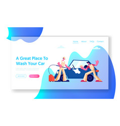 car wash service website landing page workers vector image