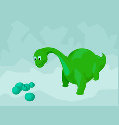 cartoon dinosaur looking at a batch of eggs vector image