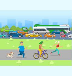 city traffic with transport vehicles banner set vector image