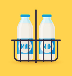 Classic milk bottles in wire carrier flat design vector