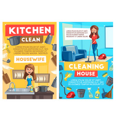 cleaning and dishwashing service cartoon vector image