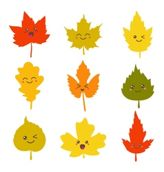Collection of cute autumn leaves in kawaii style vector