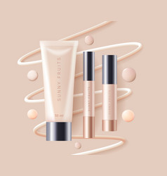 Concealer foundation cosmetics ads template vector