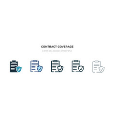 Contract coverage icon in different style two vector
