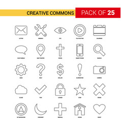 Creative commons black line icon - 25 business vector