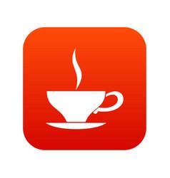 cup of tea icon digital red vector image