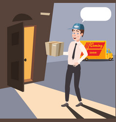 delivery worker brings a parcel cartoon style vector image