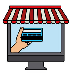 desktop computer with credit card vector image