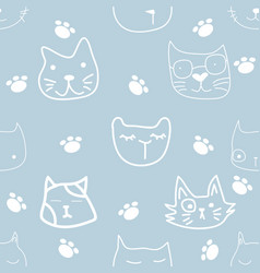 doodle face cat sameless pattern vector image