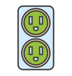 Double electrical outlet icon color outline vector