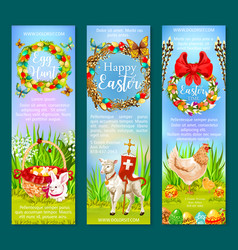 easter holiday and egg hunt banner template set vector image