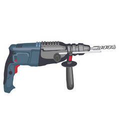 electric drill with steel drill bit isolated on vector image