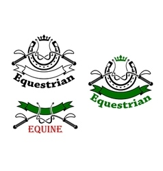 Equestrian sport emblems with whips and horseshoes vector