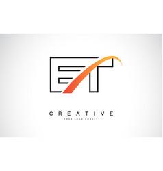 Et e t swoosh letter logo design with modern vector