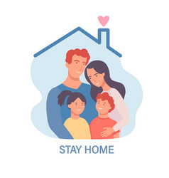 family in isolationstay home template for banner vector image