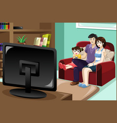 Family watching television vector