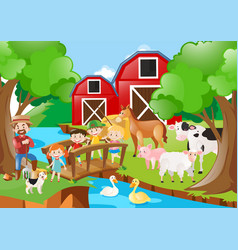 farm scene with farmer and children by the river vector image