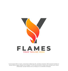 Flame with letter y logo design fire logo template vector