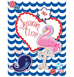 Flamingo card 3 380 vector