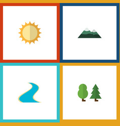 flat icon natural set of tributary peak forest vector image