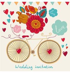 Floral wedding invitation vector