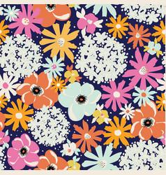 flowers hydrangea aster poppy seamless vector image
