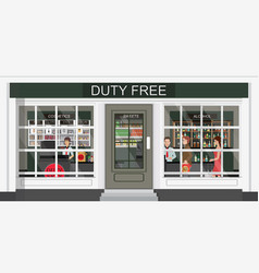 front view duty free store and people buying vector image