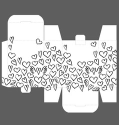 Gift box design template with heart pattern vector