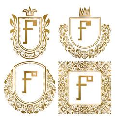 golden vintage monograms set heraldic logos f vector image