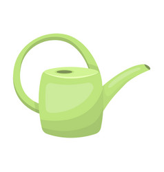 Green plastic watering can for watering flowers in vector