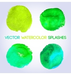 Green watercolor round shaped design elements vector image