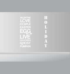 grey and white interior background with words for vector image
