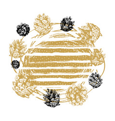 hand drawn christmas golden background pinecones vector image