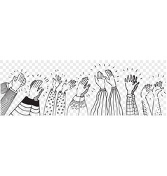 Hand drawn clapping human hands doodle set vector
