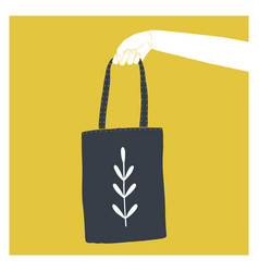 Hand holding tote bag vector