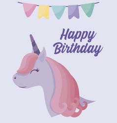 happy birthday card with cute head unicorn vector image