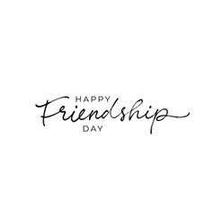 Happy friendship day hand drawn lettering vector