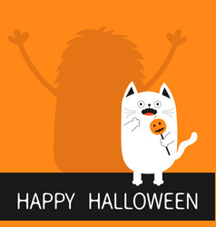 Happy halloween monster silhouette wall shadow vector