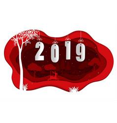 happy new year 2019 with deers in winter season vector image