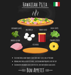Hawaiian pizza recipe on chalkboard vector