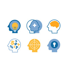 head silhouettes with ideas in their heads set vector image