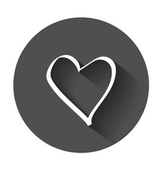 hearts icon love hand drawn with long shadow vector image