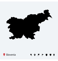 high detailed map slovenia with navigation pins vector image