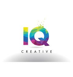 Iq i q colorful letter origami triangles design vector