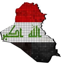 Iraq map with flag inside vector