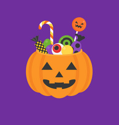 Jack o lantern bowl of halloween vector