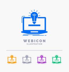 laptop solution idea bulb solution 5 color glyph vector image