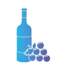 line wine bottle with grape fruit vector image